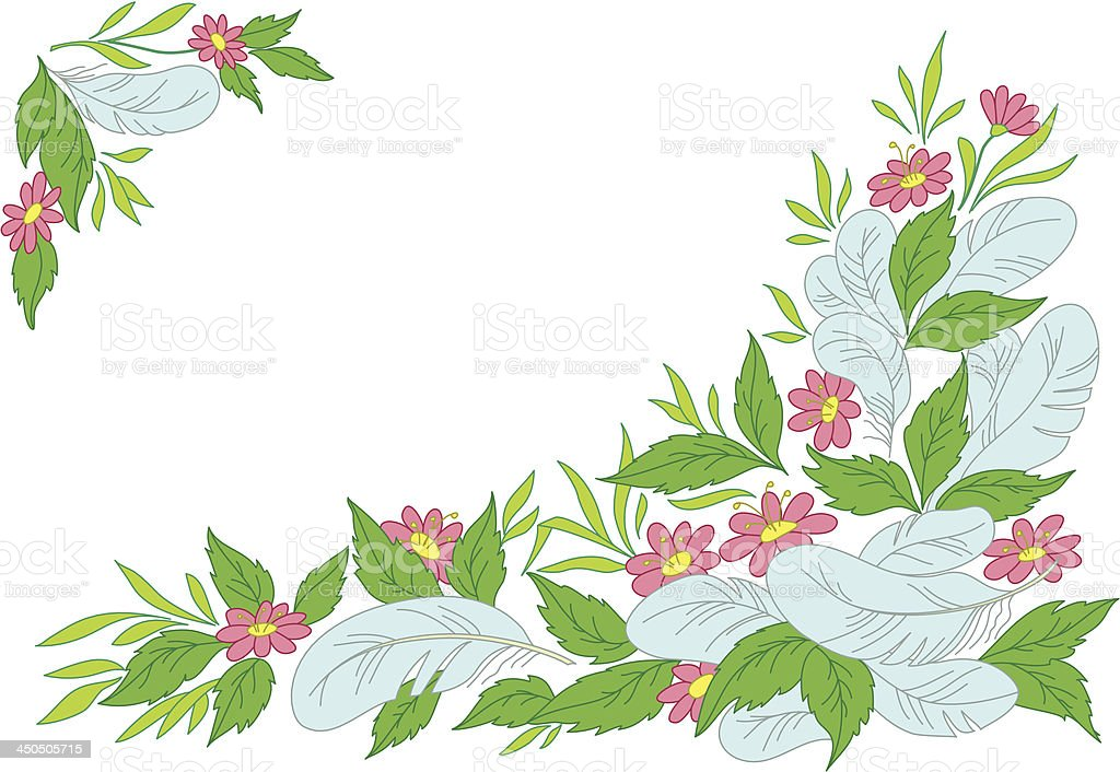 Leaves, flowers and feathers royalty-free stock vector art