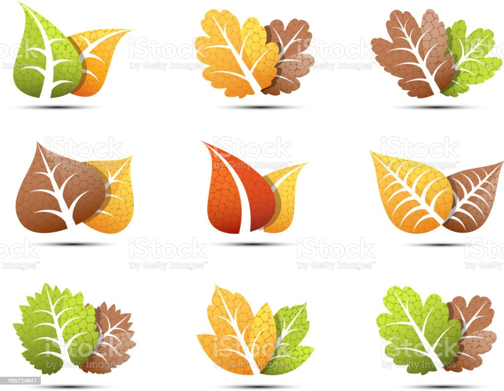 Leaves icons royalty-free stock vector art