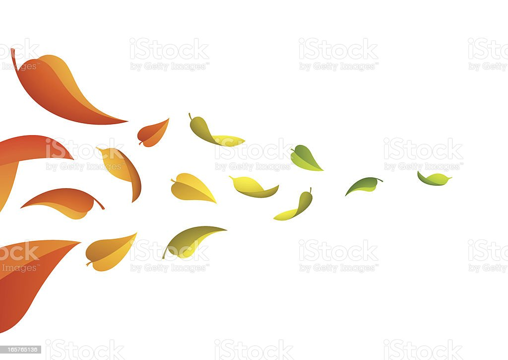 Leaves in the wind vector art illustration