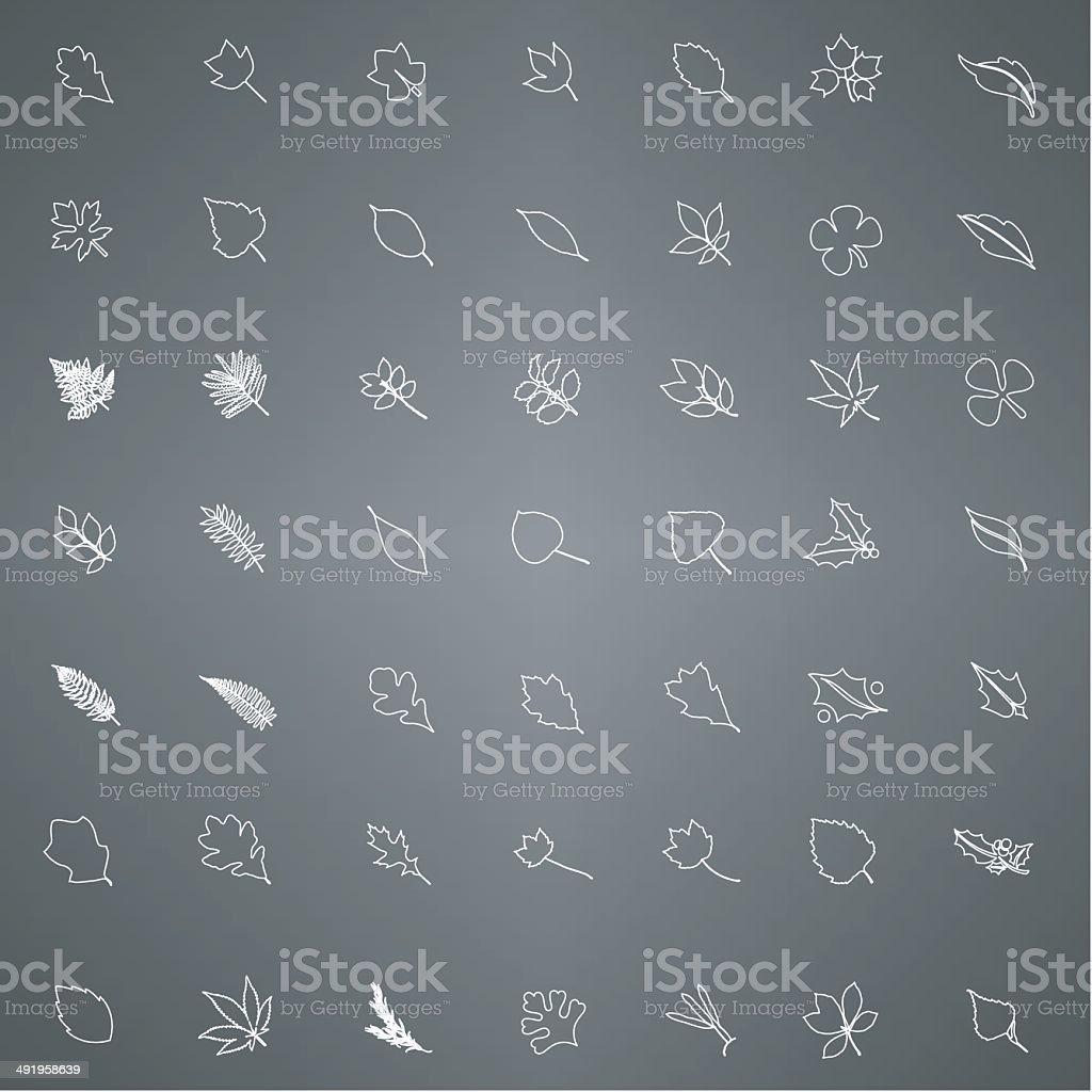 Leaves line icon vector art illustration