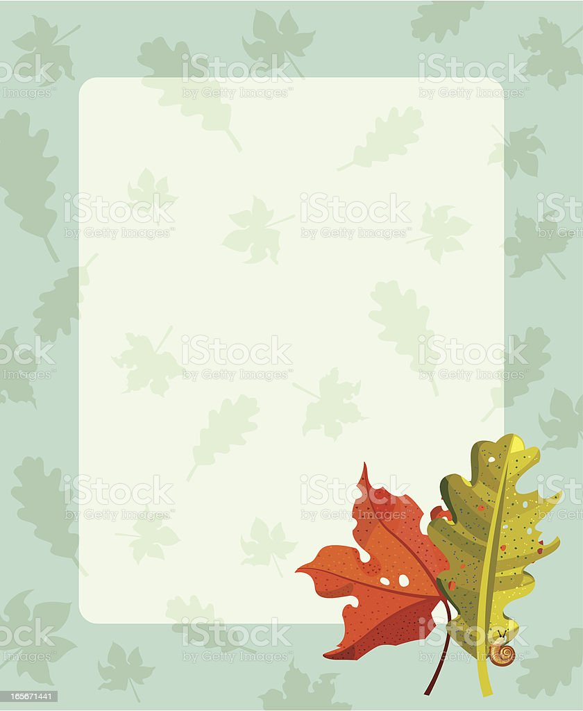 Leaves of autumn and snail royalty-free stock vector art