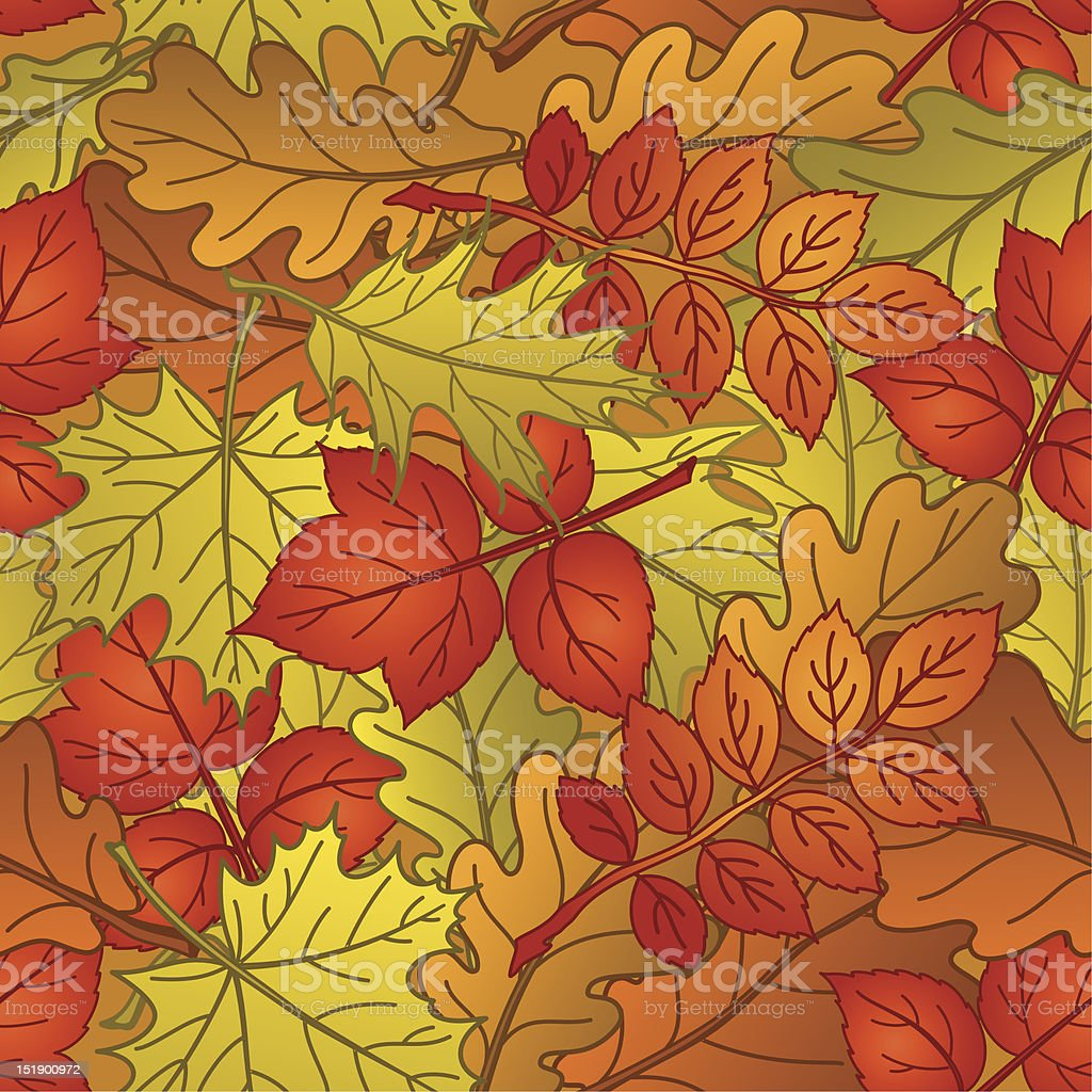 Leaves of plants, seamless, autumn royalty-free stock vector art