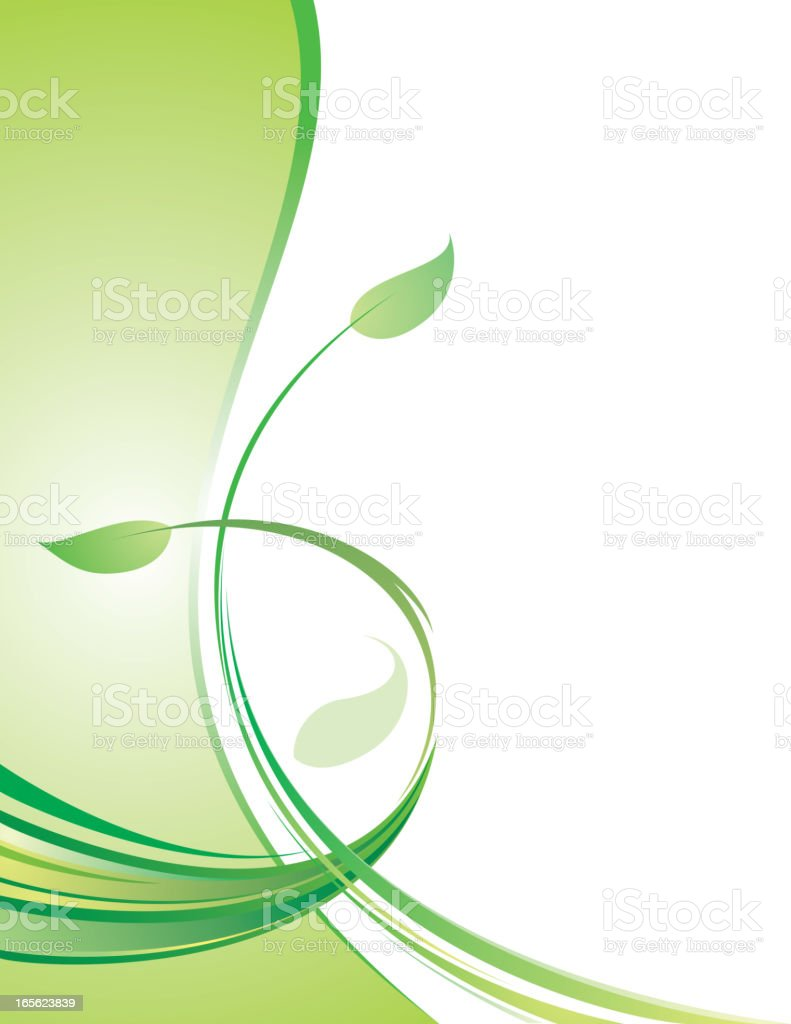 Leaves on isolated white background representing a border royalty-free stock vector art