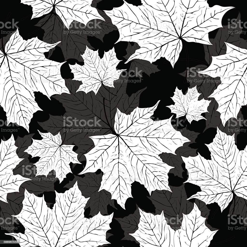 Leaves seamless pattern, vector background. Black and white illustration, monochrome royalty-free stock vector art