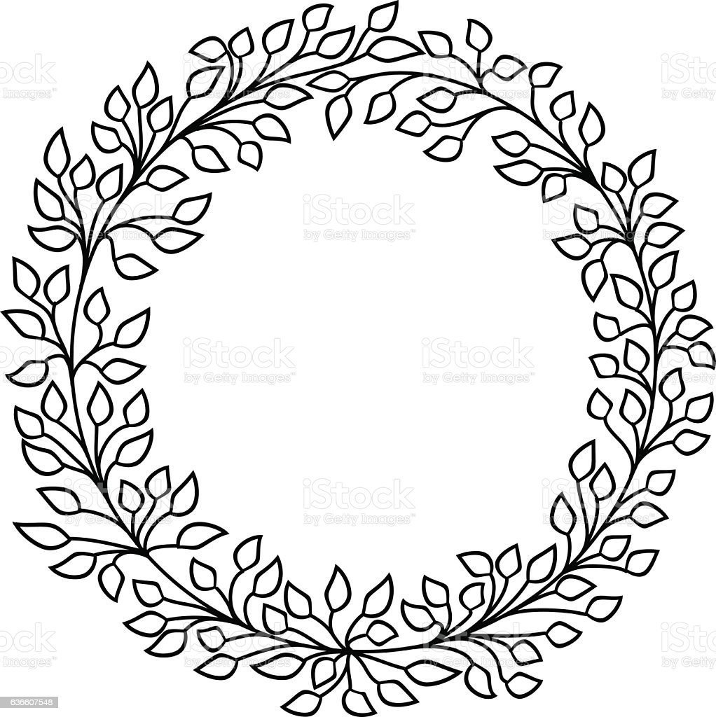 Leaves Vector Frame Black And White Wreath stock vector ...