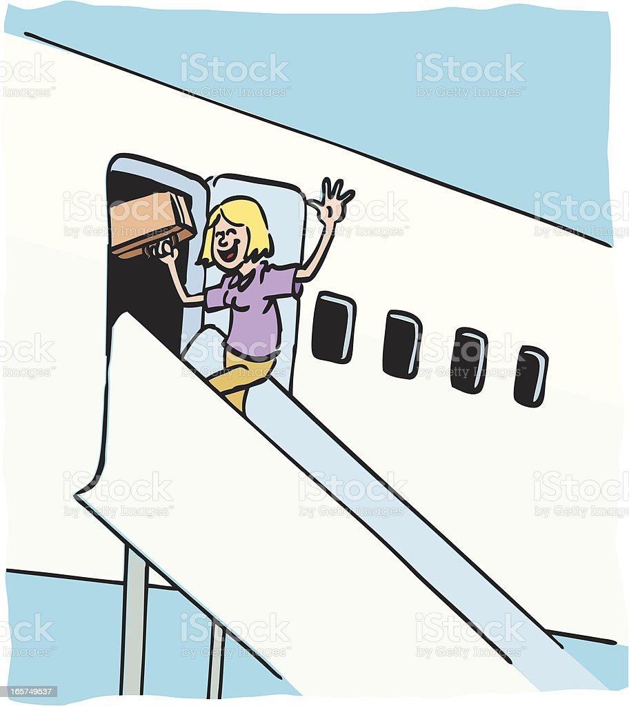 Leaving in a plane vector art illustration