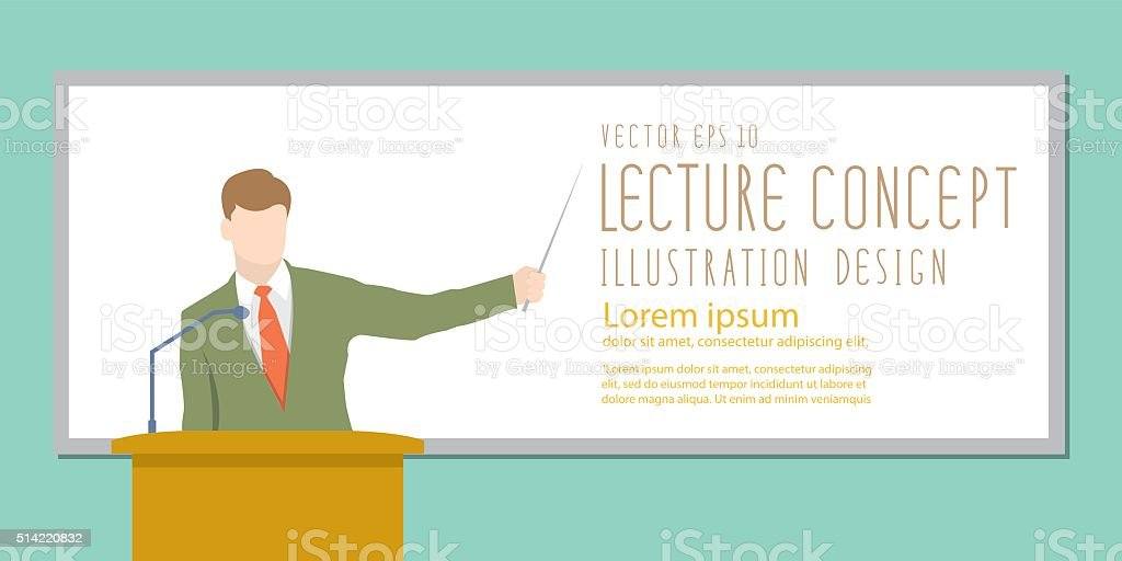 Lecturer giving lecture or presentation. Standing in front of wh vector art illustration