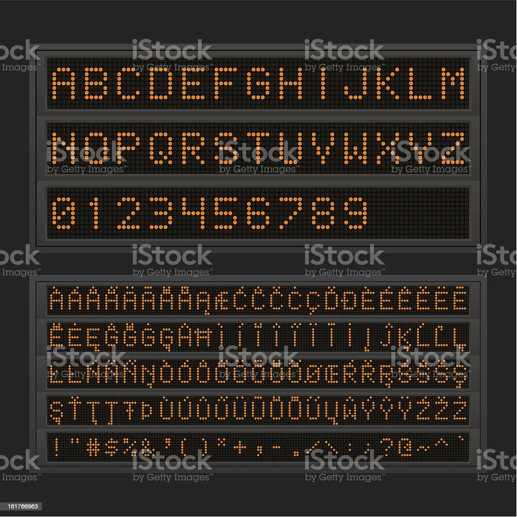 Led board with orange lights showing different characters royalty-free stock vector art