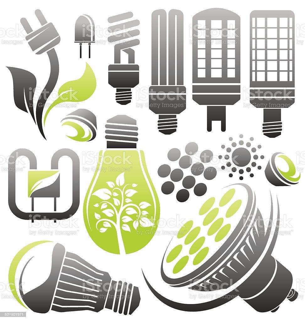 led bulb vector art illustration
