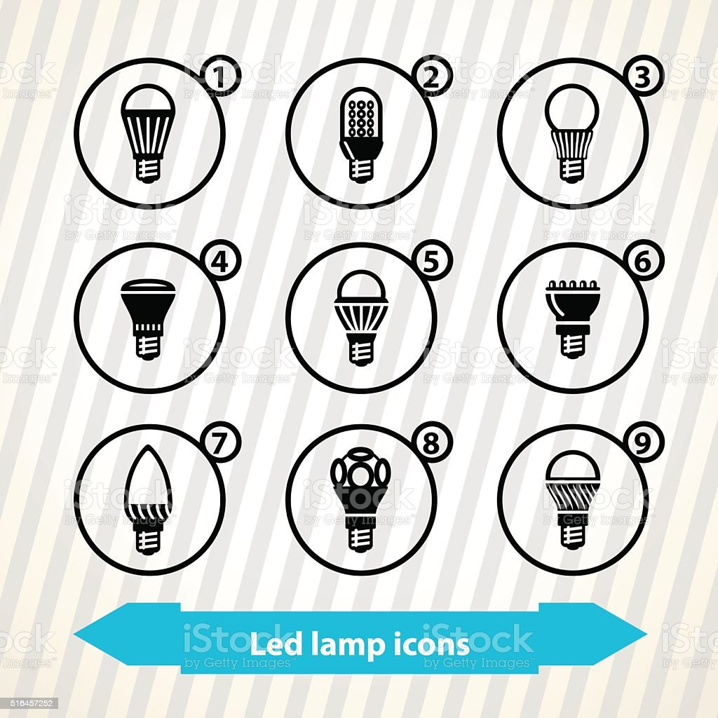Led lamp icons vector art illustration