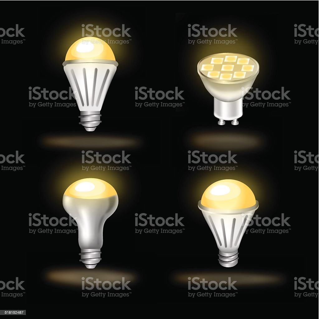 led set color icons vector art illustration