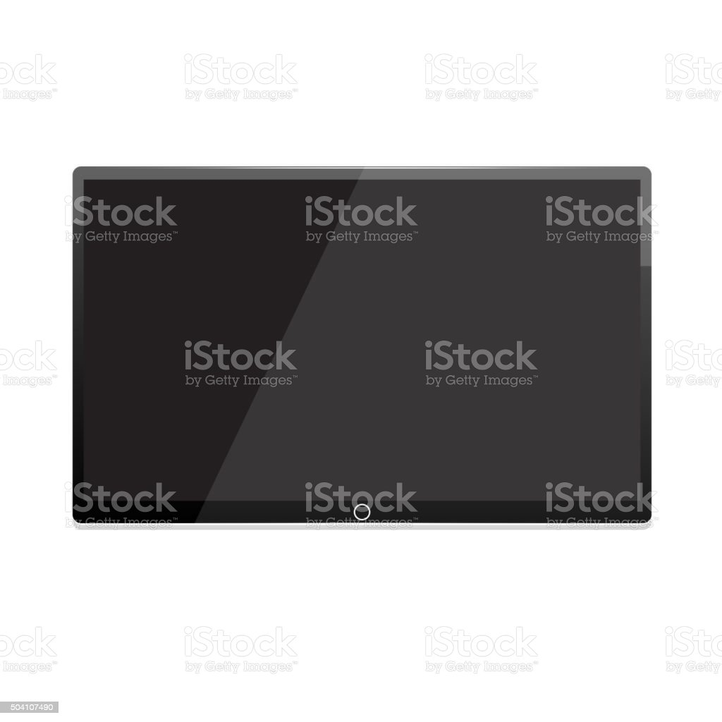 Led tv, screen TV hanging on the wall vector art illustration