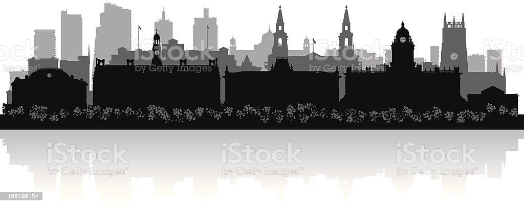 Leeds England city skyline vector silhouette vector art illustration