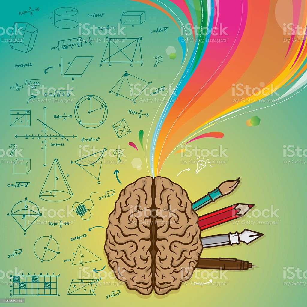 Left brain right brain vector art illustration