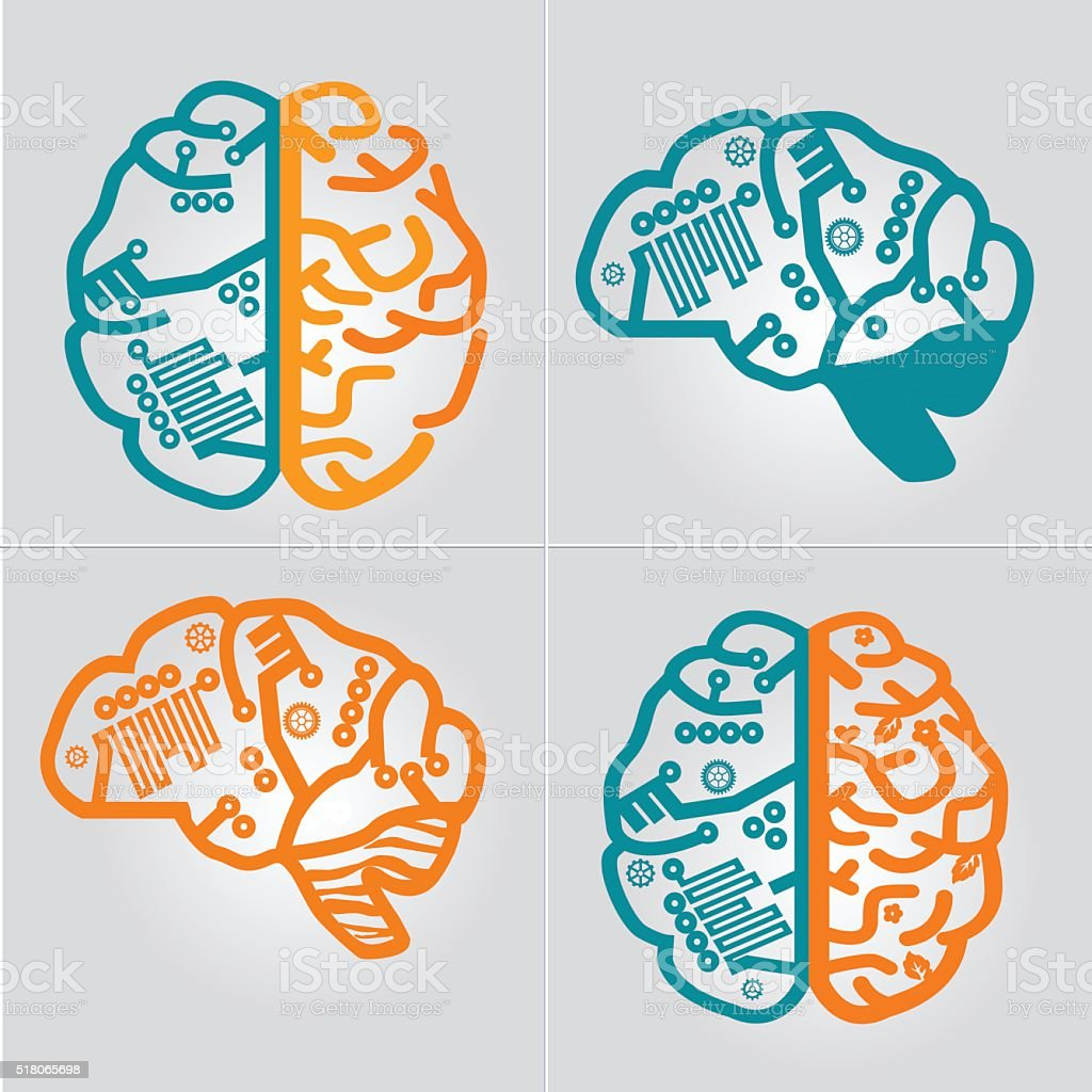 Left & Right Human Brain hemispheres vector icon set. vector art illustration