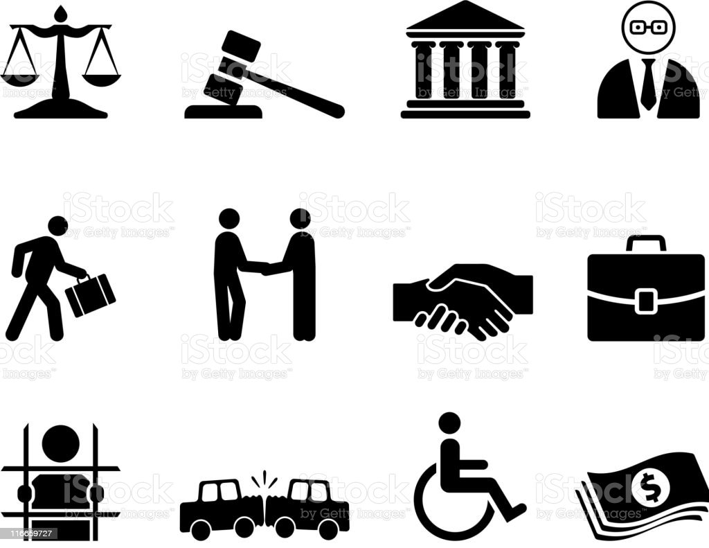 legal black and white royalty free vector icon set vector art illustration