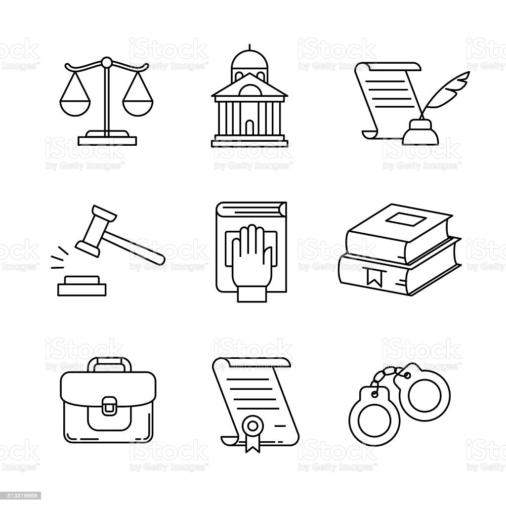 Legal, law and court thin line art icons set vector art illustration