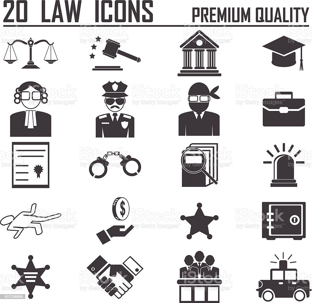 20 Legal, law and justice icon set royalty-free stock vector art
