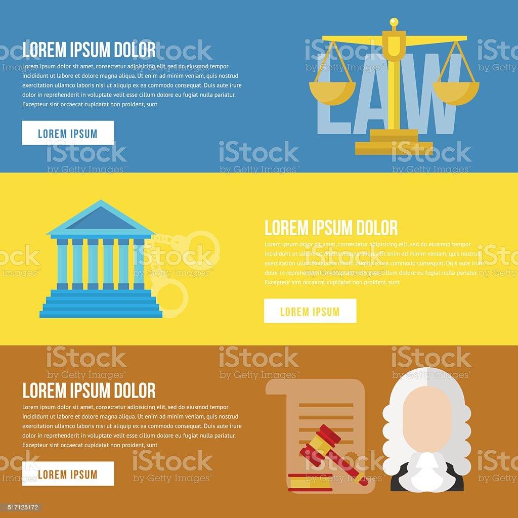 Legal law concept banners vector art illustration