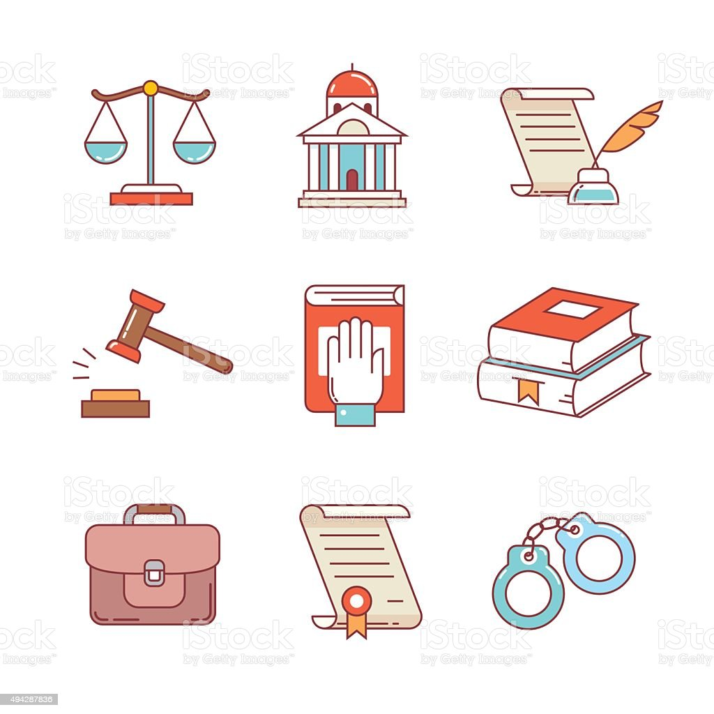 Legal, law, lawyer and court thin line icons set vector art illustration
