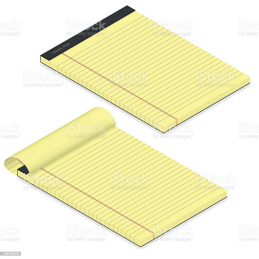 Legal pad isometric detailed icon set stock photo
