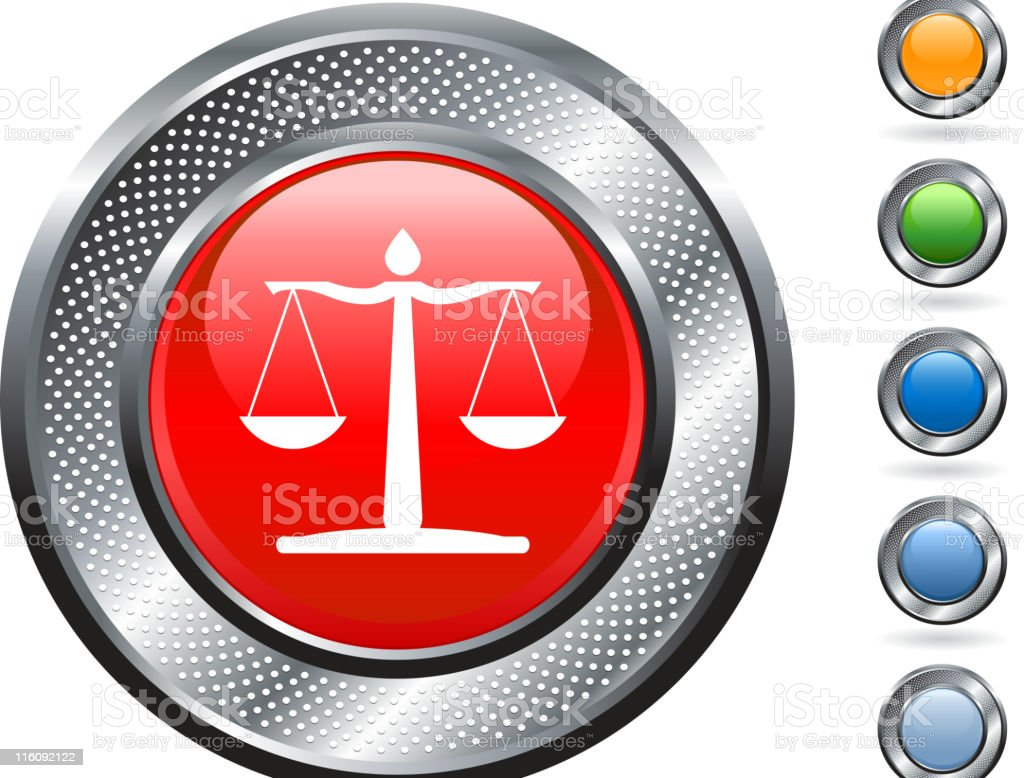 legal scale royalty free vector art on metallic button royalty-free stock vector art