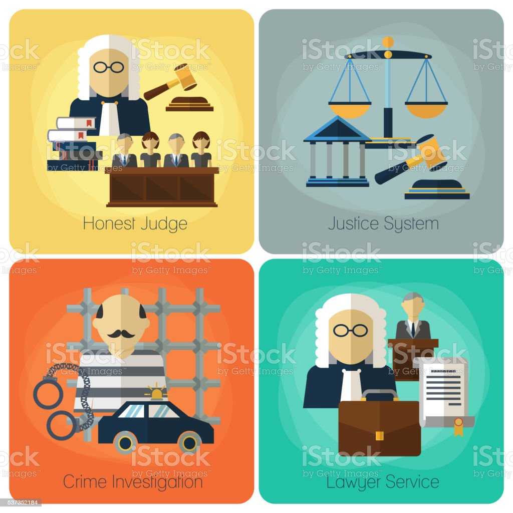 Legal services, law and order, justice vector flat concept set vector art illustration
