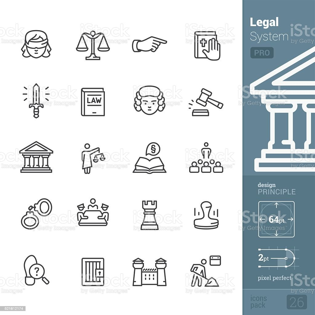 Legal System and Justice related vector icons - PRO pack vector art illustration
