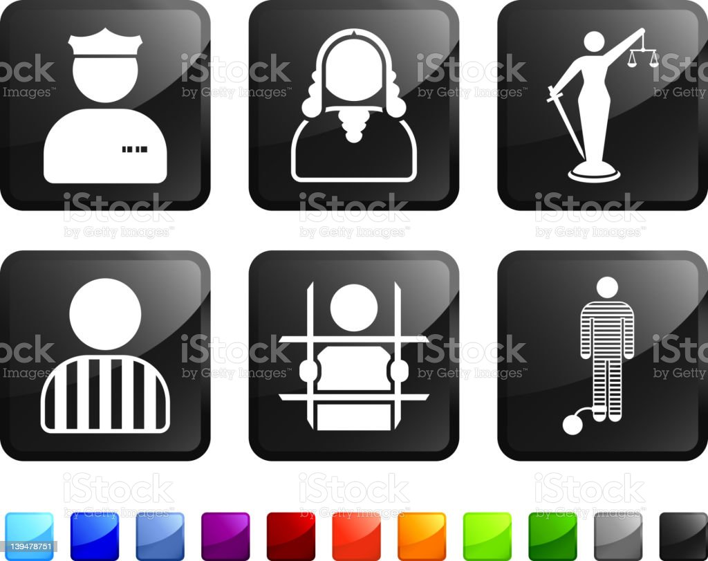 legal system at work royalty free vector icon set stickers royalty-free stock vector art
