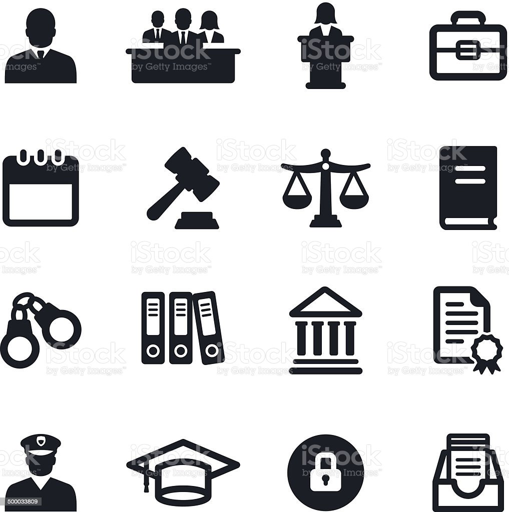 Legal System Icons vector art illustration
