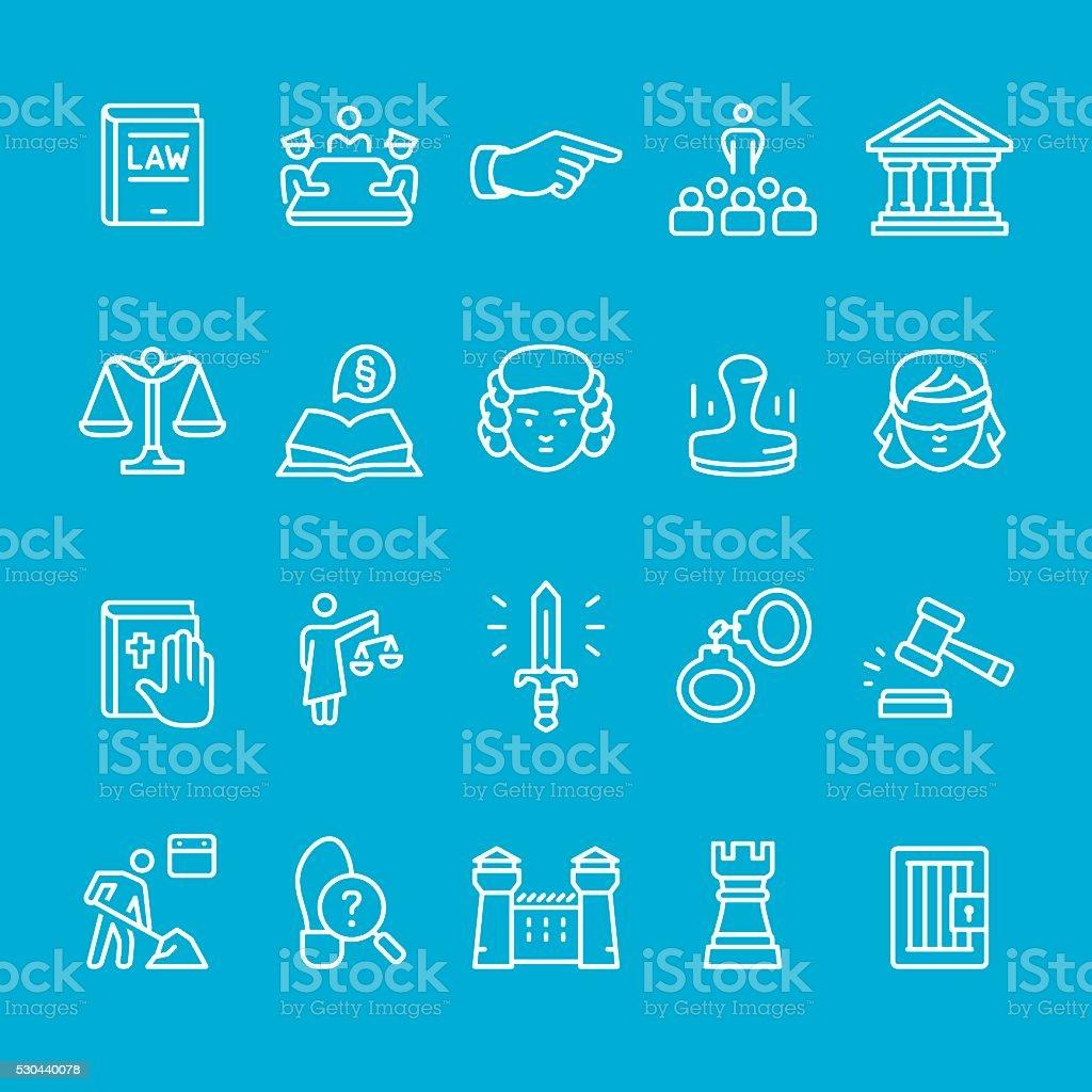 Legal System outline icons vector art illustration