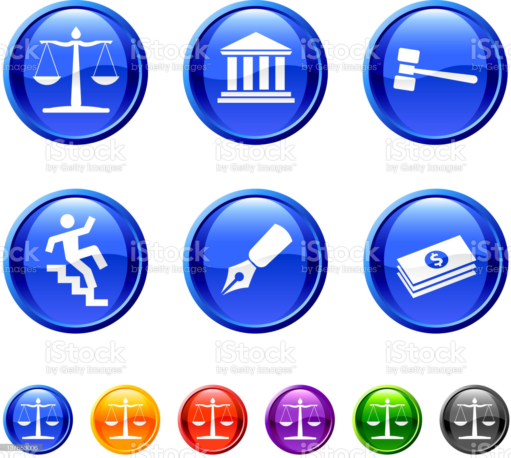 Legal system royalty free vector icon set in 36 colors royalty-free stock vector art