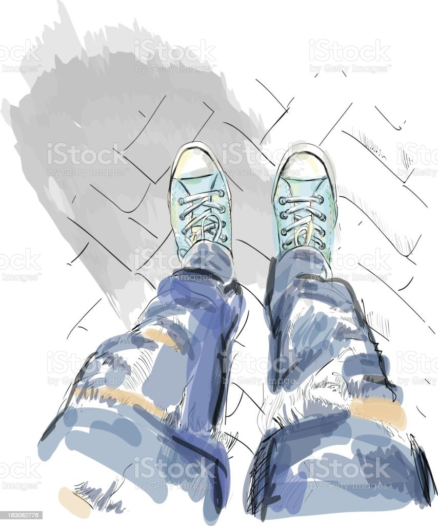 Legs in gumshoes. Vector. royalty-free stock vector art