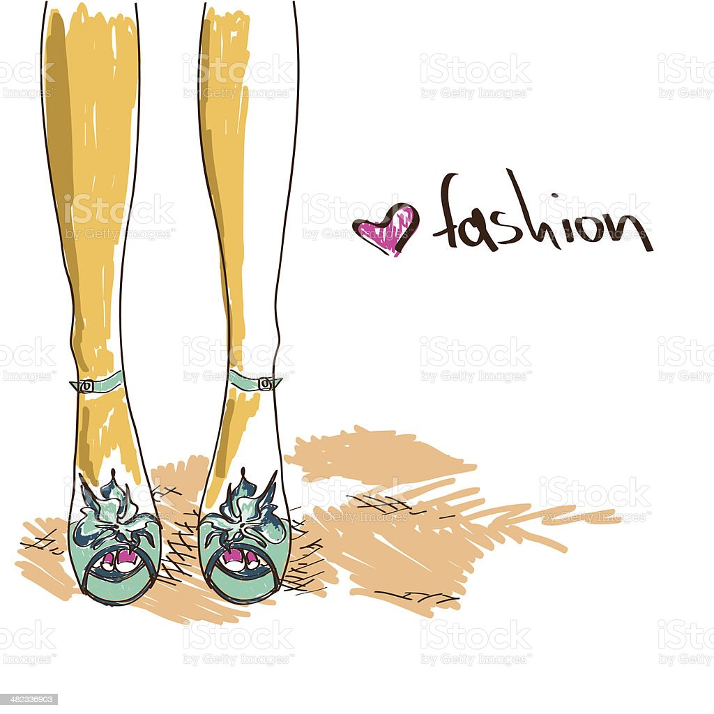 Legs of woman in fashion shoes royalty-free stock vector art