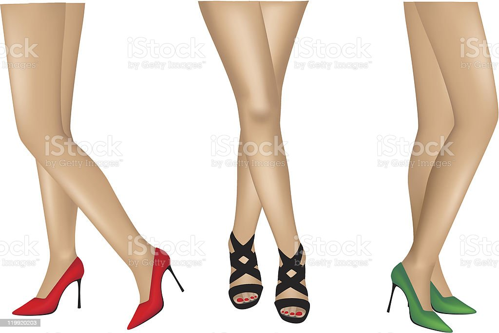 Legs with shoes vector art illustration
