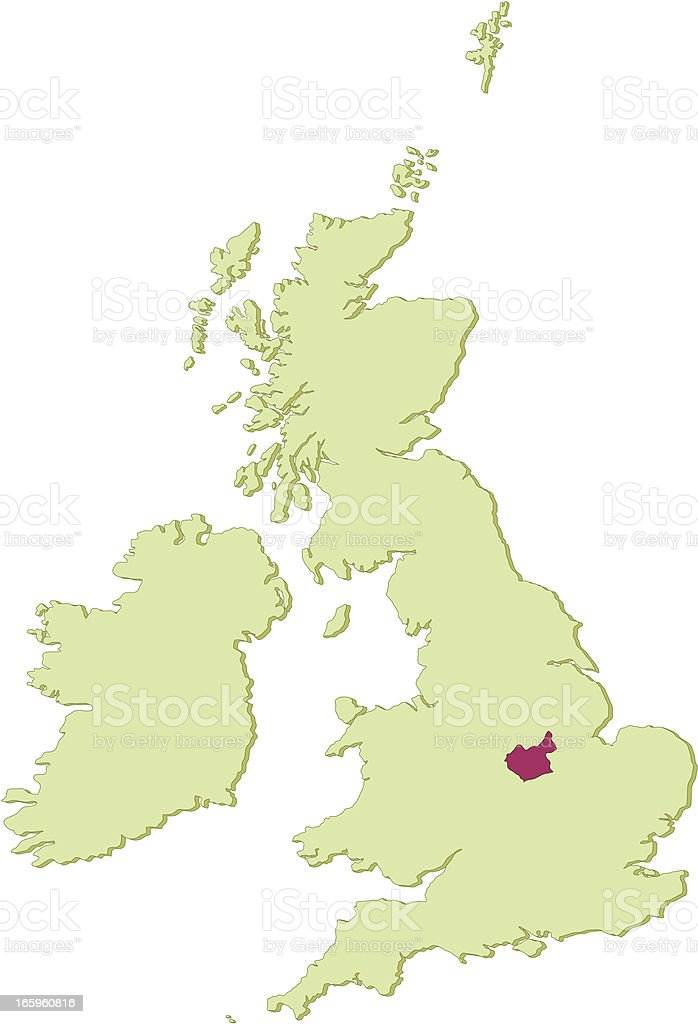 UK Leicestershire map vector art illustration