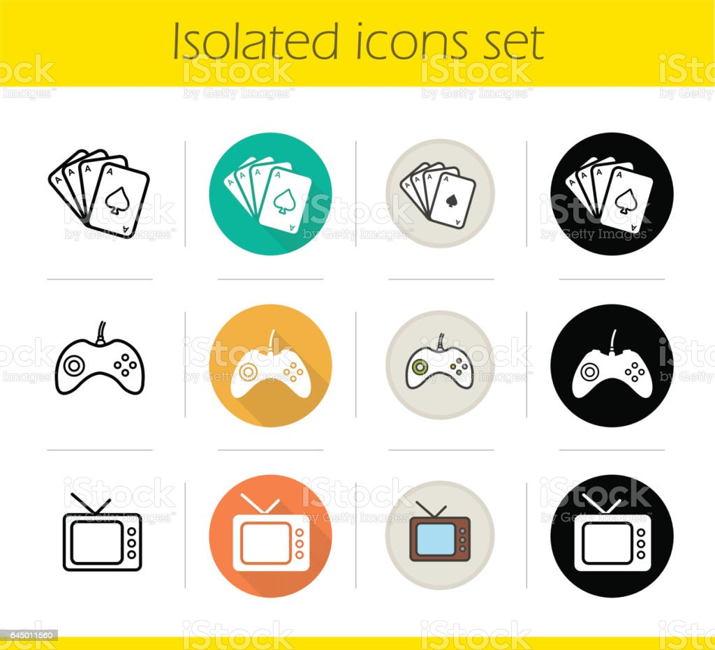 Leisure and entertainment icons vector art illustration