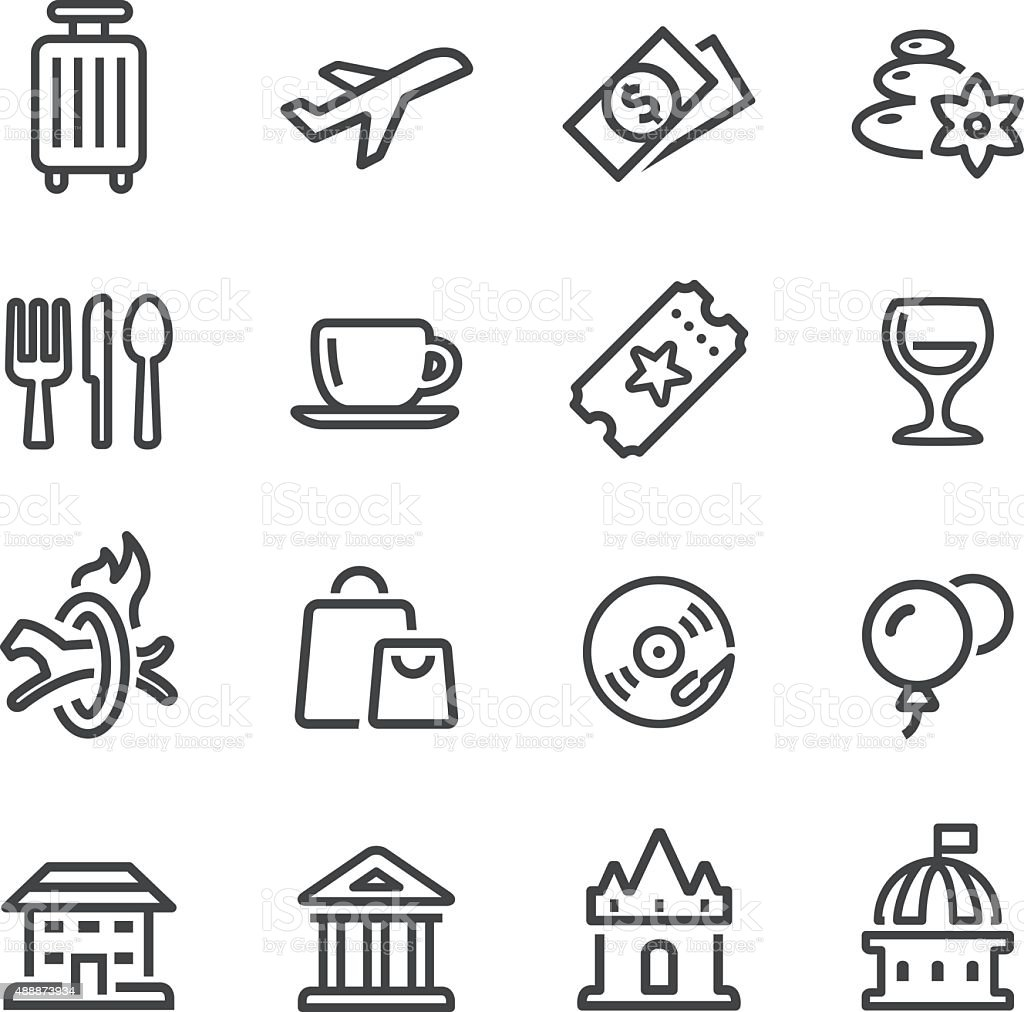 Leisure and Travel Icons - Line Series vector art illustration