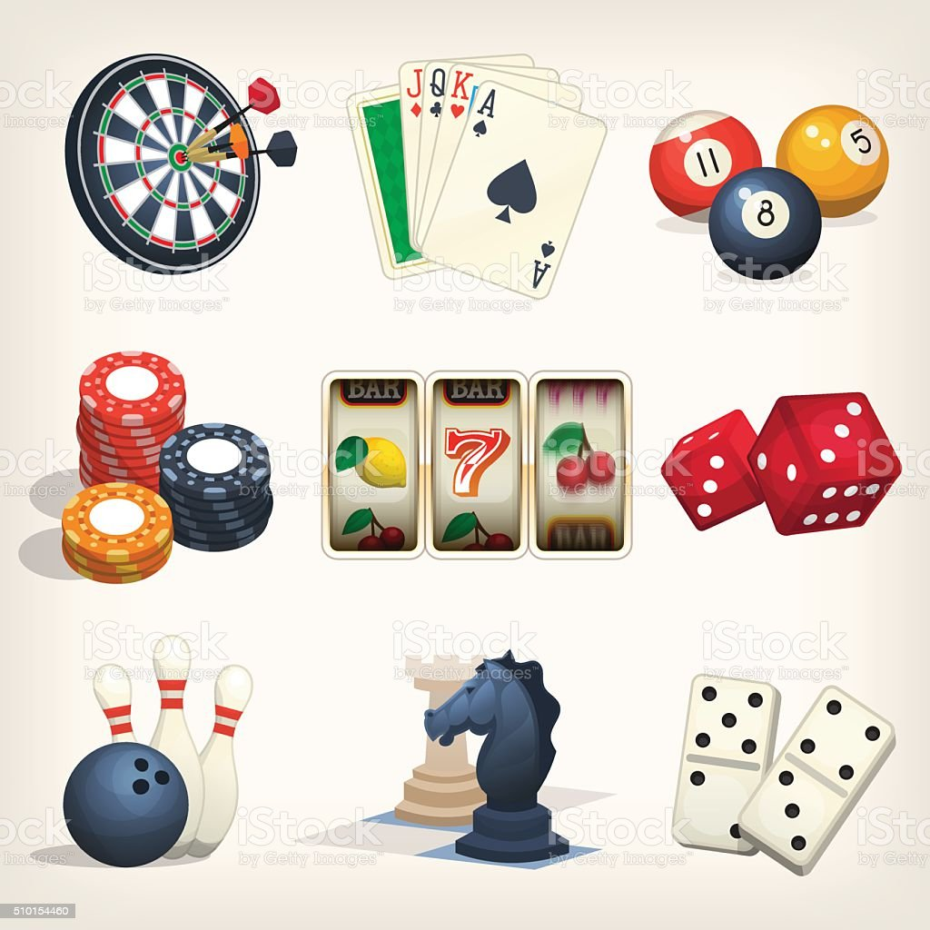 Leisure games icons vector art illustration