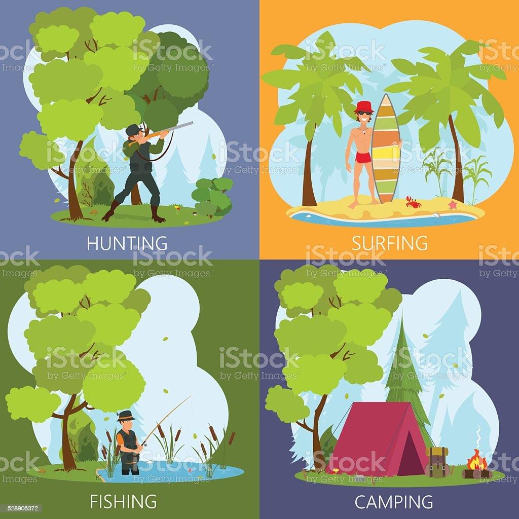 leisure men outdoors. vector art illustration