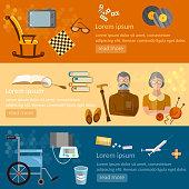 Leisure of seniors banners pension hobbies retirement home