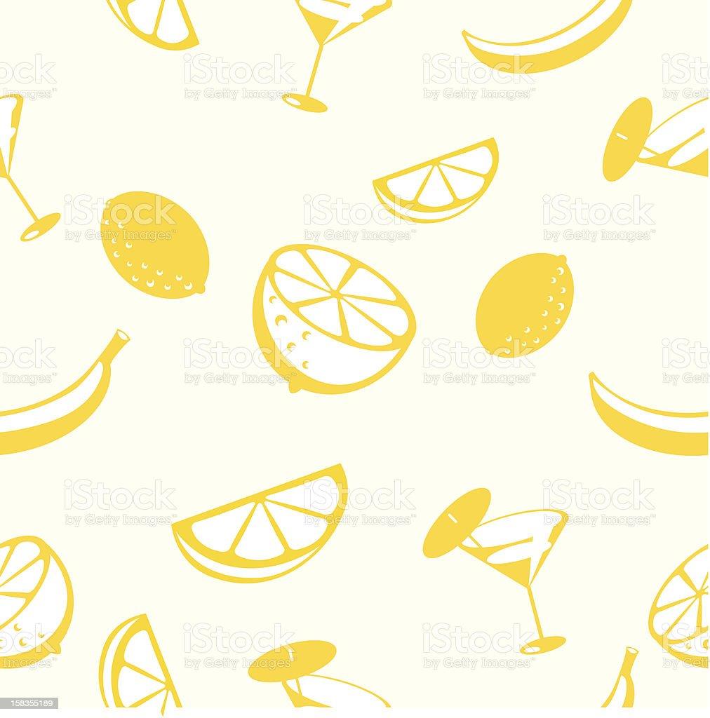 Lemon and banana drink seamless pattern royalty-free stock vector art