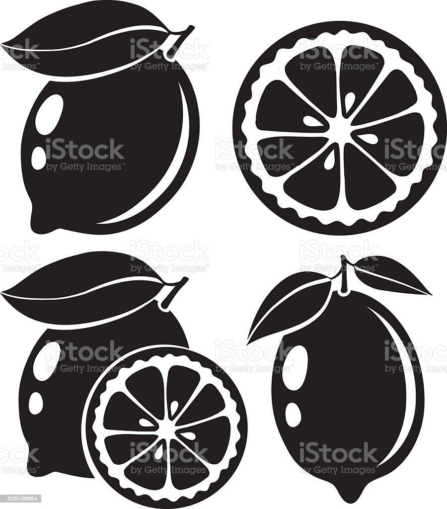 Lemon black and white vector illustration vector art illustration