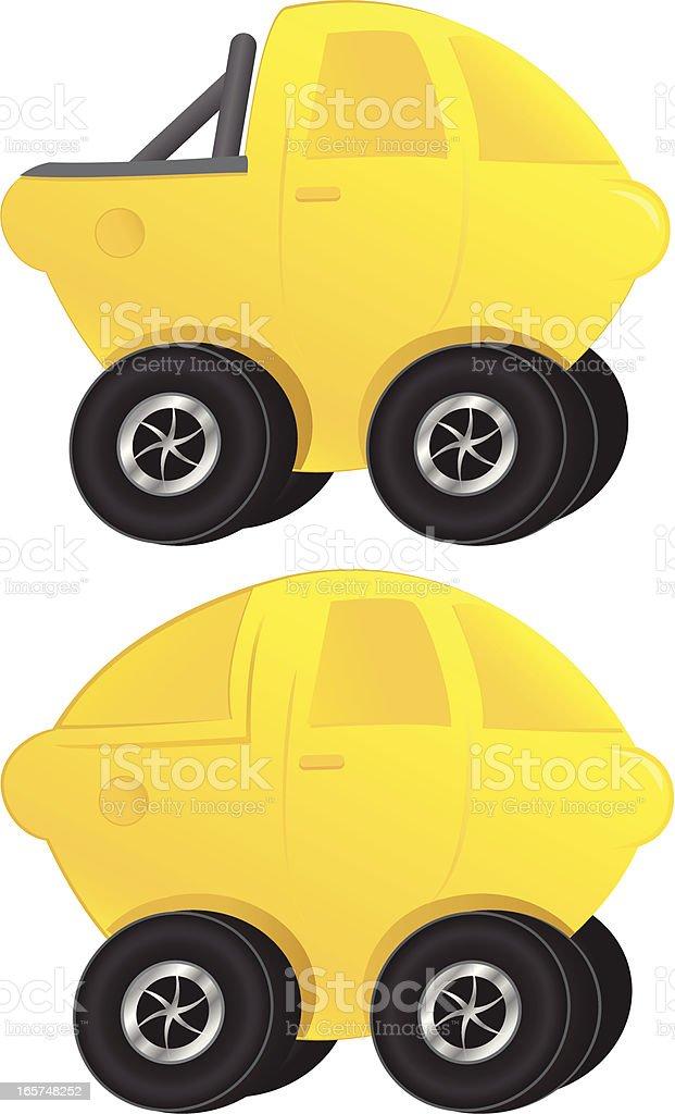 Lemon car and  truck vector art illustration