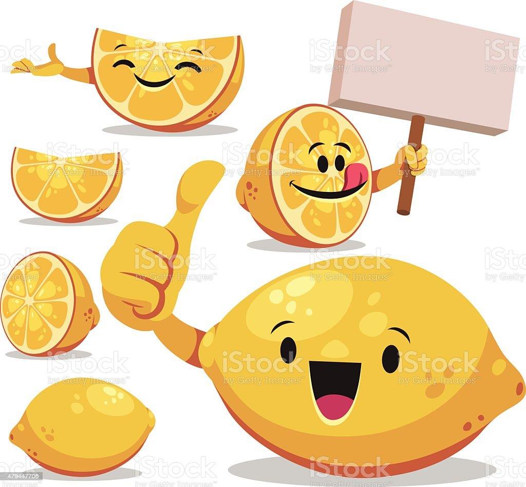 Lemon Cartoon Set C vector art illustration