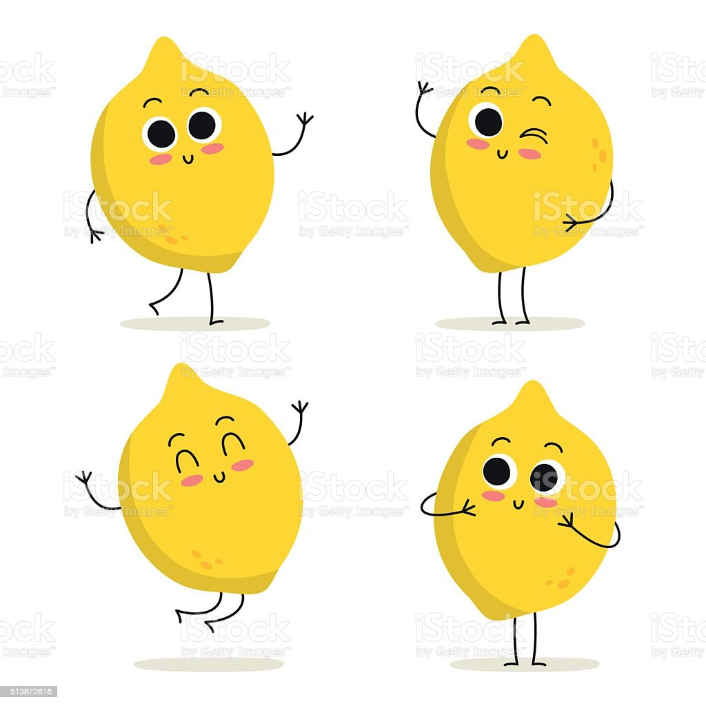 Lemon. Cute fruit character set isolated on white vector art illustration