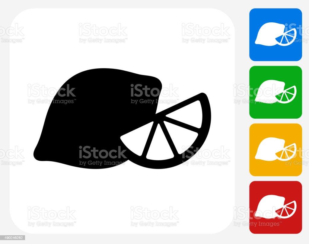 Lemon Icon Flat Graphic Design vector art illustration