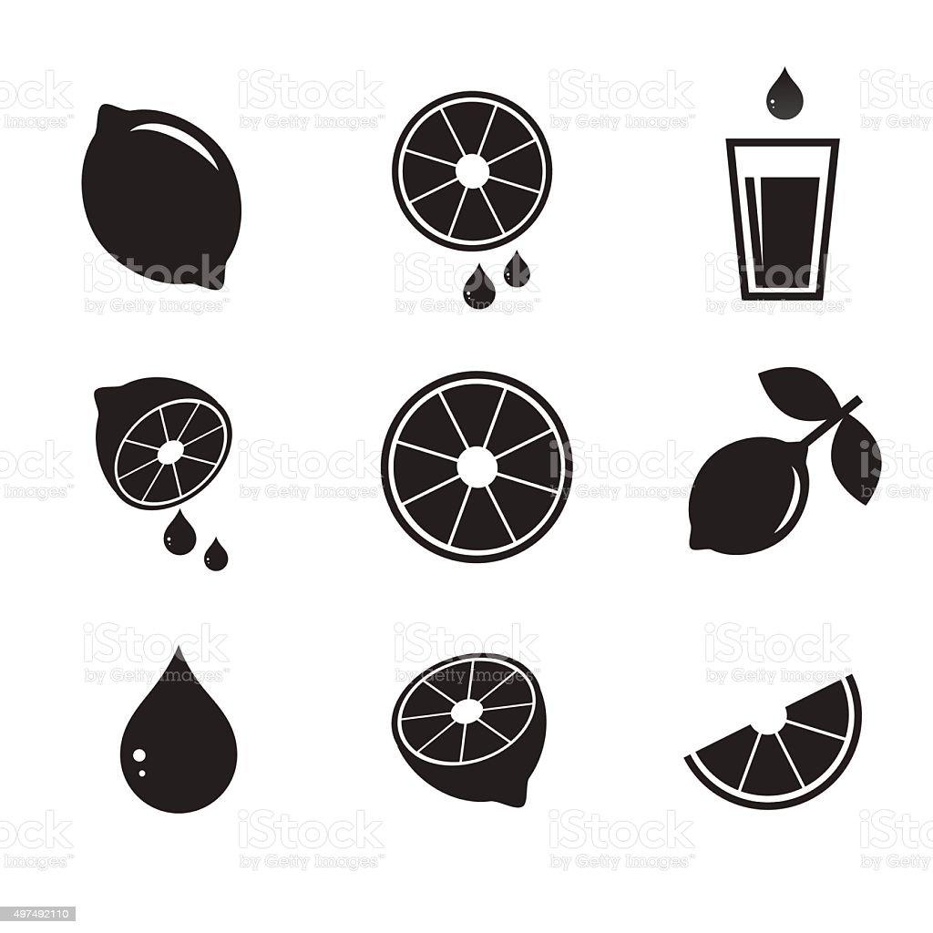 Lemon icon set. vector art illustration