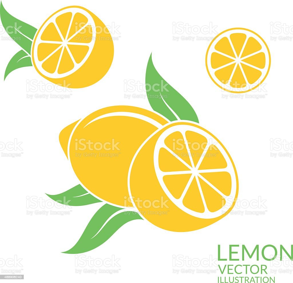 Lemon. Isolated fruit on white background vector art illustration