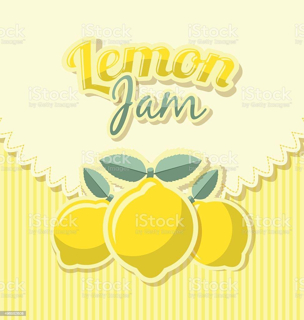 Lemon jam label vector art illustration